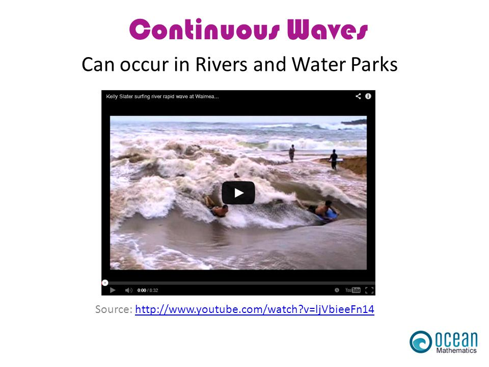 Continuous Waves Source: http://www.youtube.com/watch?v=ljVbieeFn14http://www.youtube.com/watch?v=ljVbieeFn14 Can occur in Rivers and Water Parks