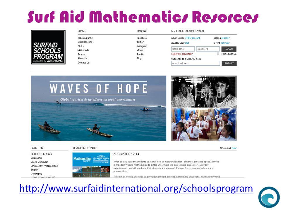 Surf Aid Mathematics Resorces http://www.surfaidinternational.org/schoolsprogram