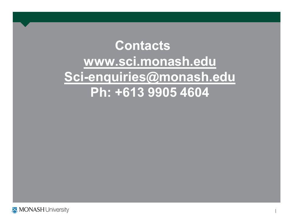 Contacts www.sci.monash.edu Sci-enquiries@monash.edu Ph: +613 9905 4604