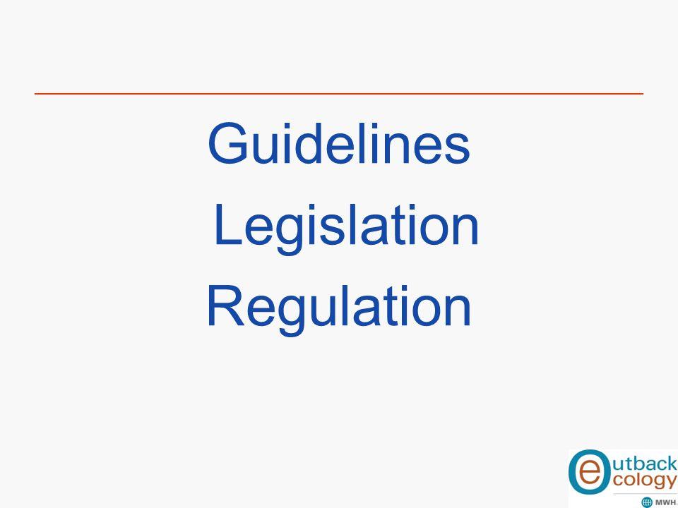 Guidelines Legislation Regulation