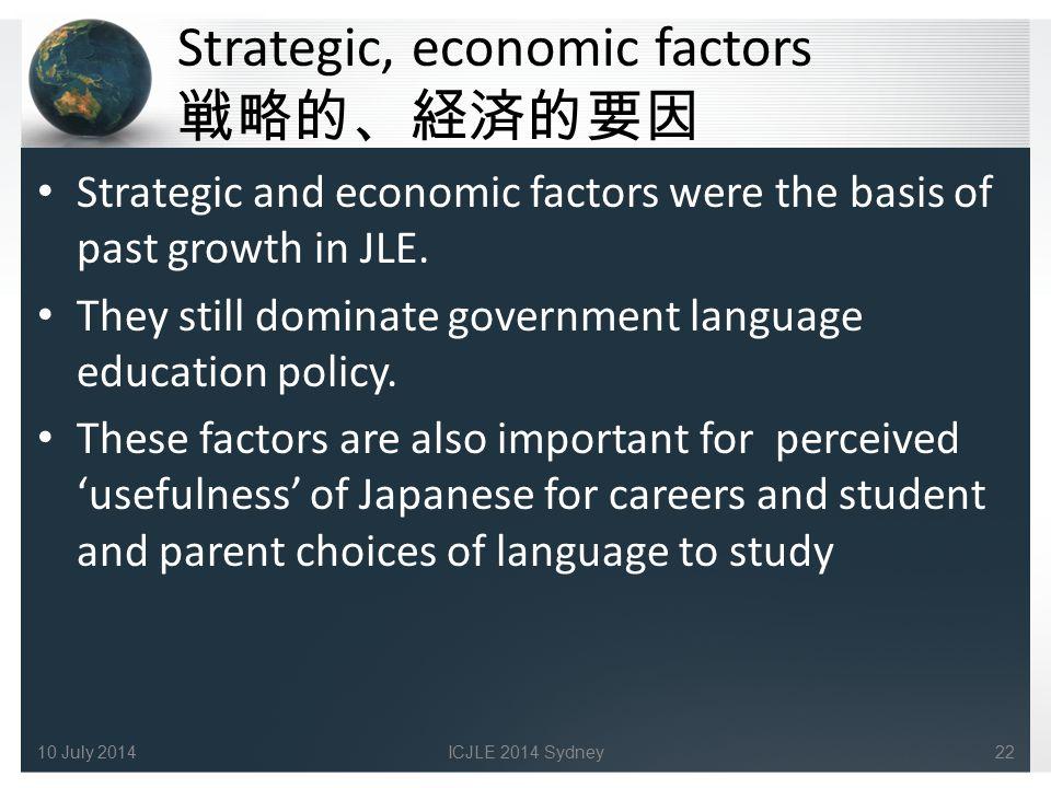 Strategic, economic factors 戦略的、経済的要因 Strategic and economic factors were the basis of past growth in JLE.