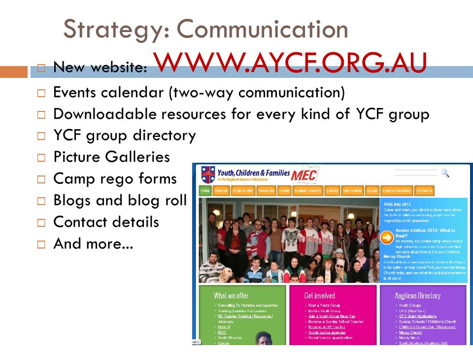 Strategy: Communication  New website: WWW.AYCF.ORG.AU  Events calendar (two-way communication)  Downloadable resources for every kind of YCF group