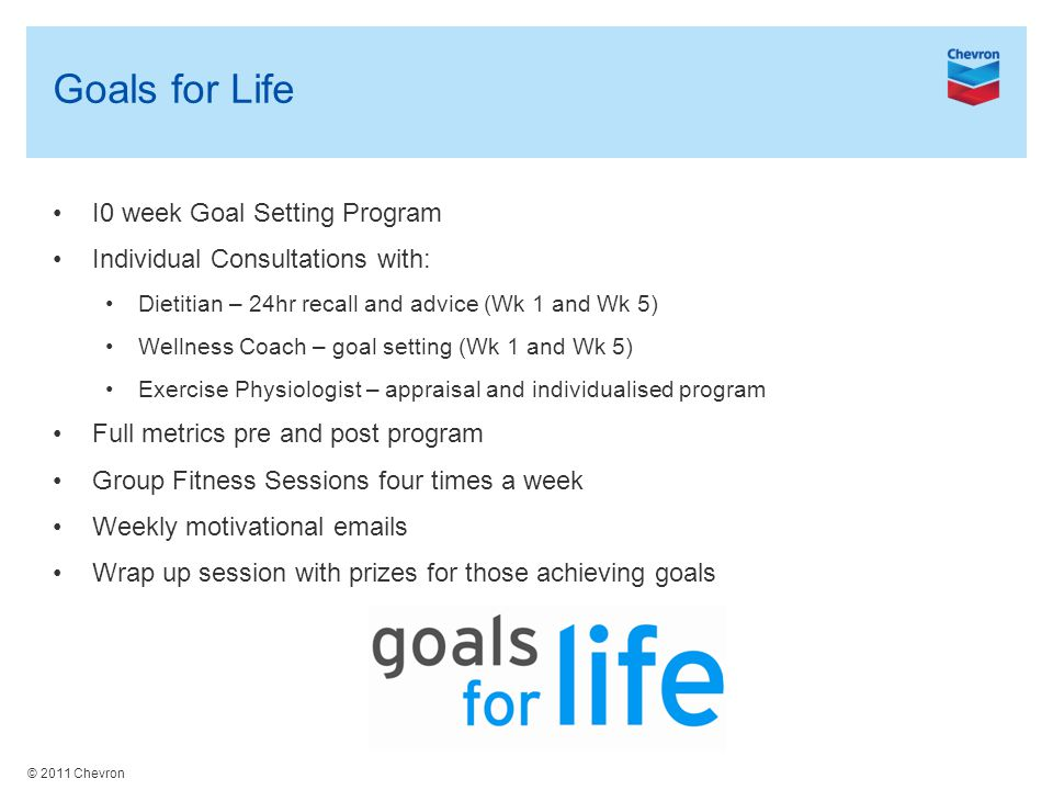 © 2011 Chevron Goals for Life I0 week Goal Setting Program Individual Consultations with: Dietitian – 24hr recall and advice (Wk 1 and Wk 5) Wellness Coach – goal setting (Wk 1 and Wk 5) Exercise Physiologist – appraisal and individualised program Full metrics pre and post program Group Fitness Sessions four times a week Weekly motivational emails Wrap up session with prizes for those achieving goals