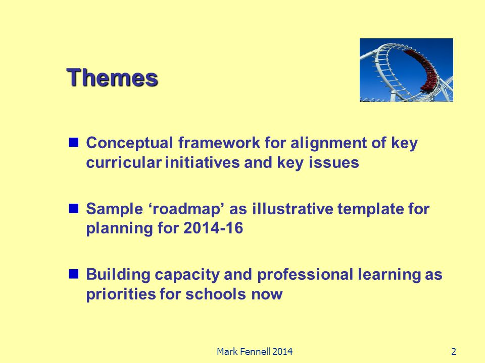 Themes Conceptual framework for alignment of key curricular initiatives and key issues Sample 'roadmap' as illustrative template for planning for 2014