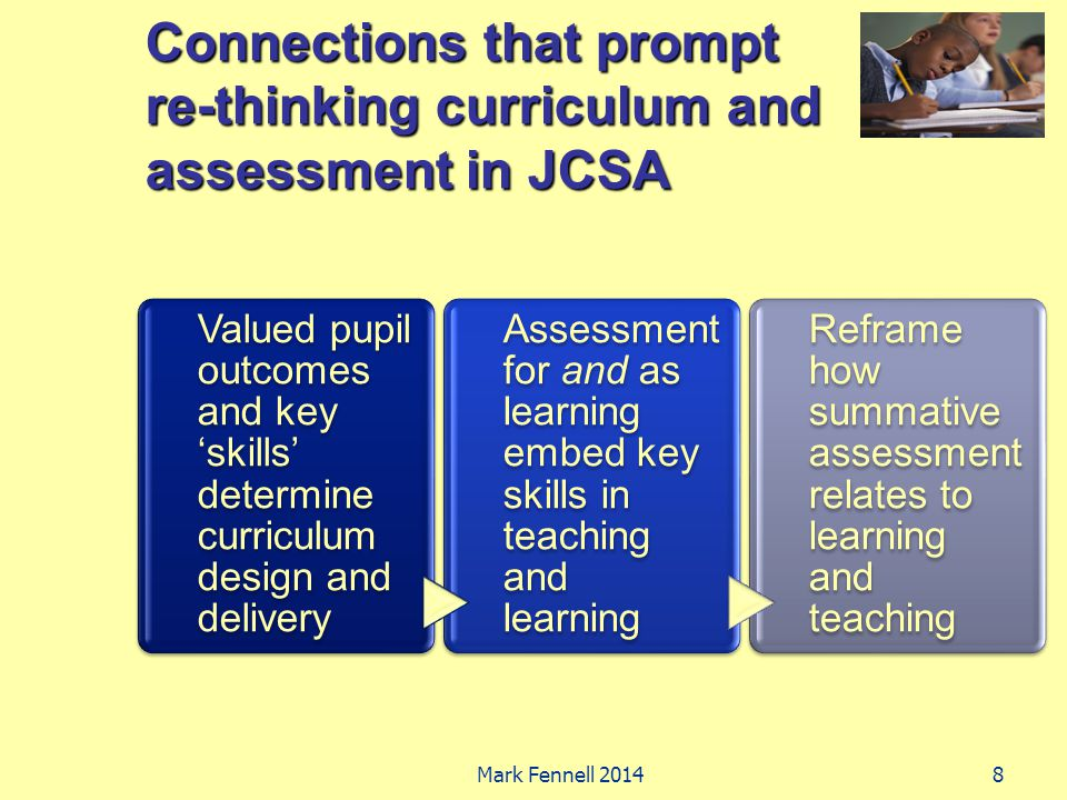 Connections that prompt re-thinking curriculum and assessment in JCSA Valued pupil outcomes and key 'skills' determine curriculum design and delivery Assessment for and as learning embed key skills in teaching and learning Reframe how summative assessment relates to learning and teaching 8Mark Fennell 2014
