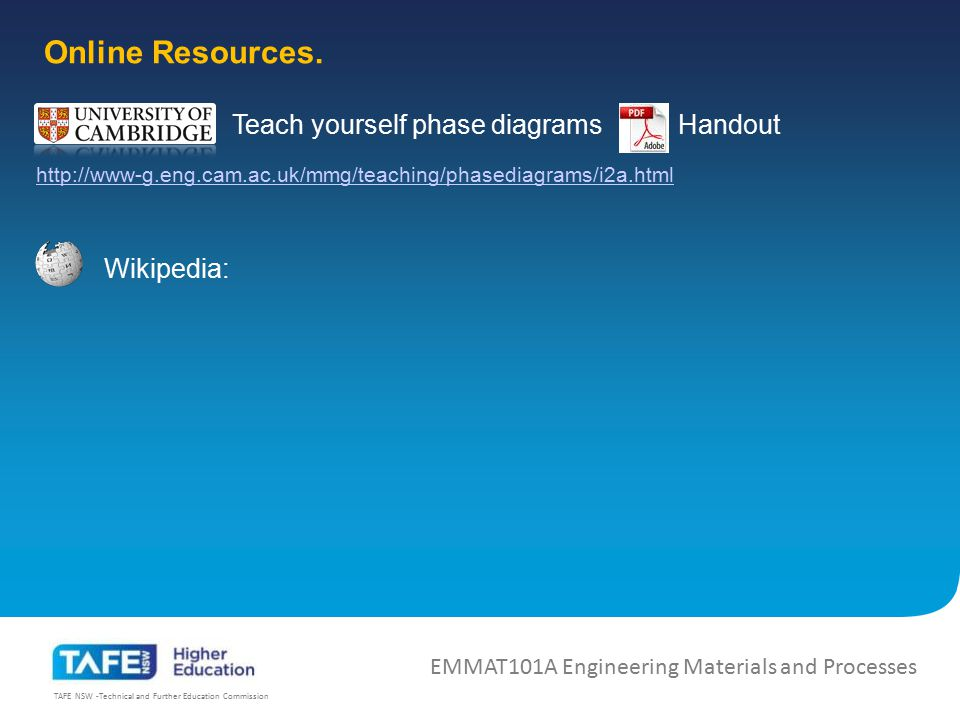 TAFE NSW -Technical and Further Education Commission EMMAT101A Engineering Materials and Processes Handout Wikipedia: Online Resources. Teach yourself