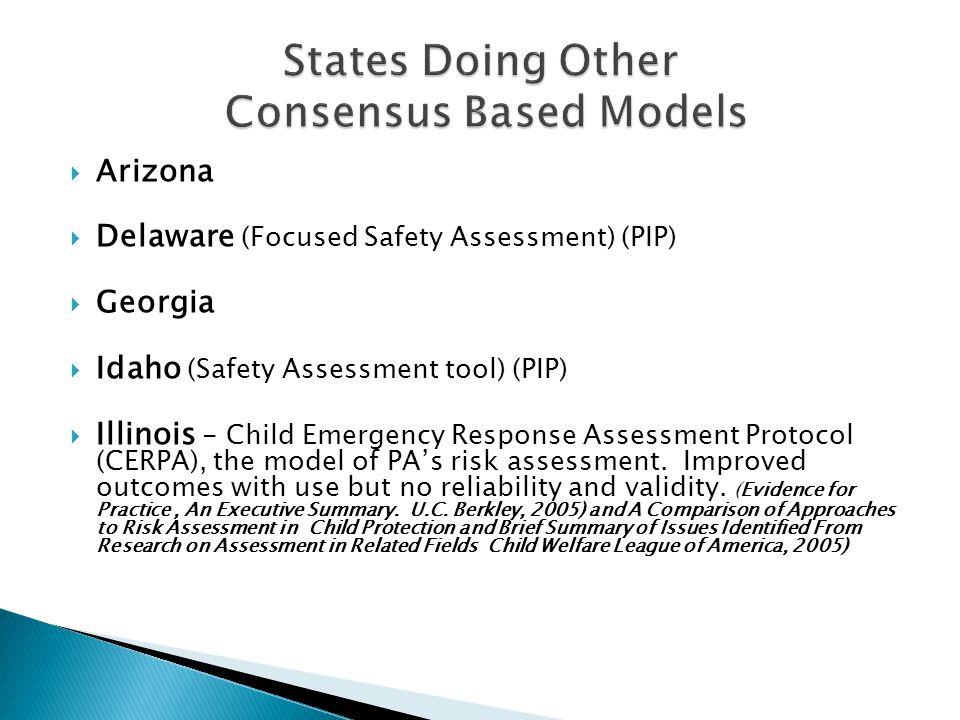  Arizona  Delaware (Focused Safety Assessment) (PIP)  Georgia  Idaho (Safety Assessment tool) (PIP)  Illinois - Child Emergency Response Assessme