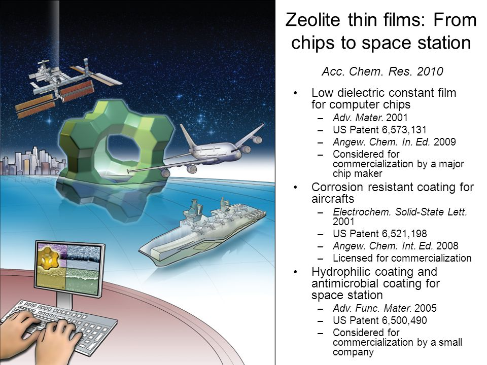 Zeolite thin films: From chips to space station Low dielectric constant film for computer chips –Adv. Mater. 2001 –US Patent 6,573,131 –Angew. Chem. I