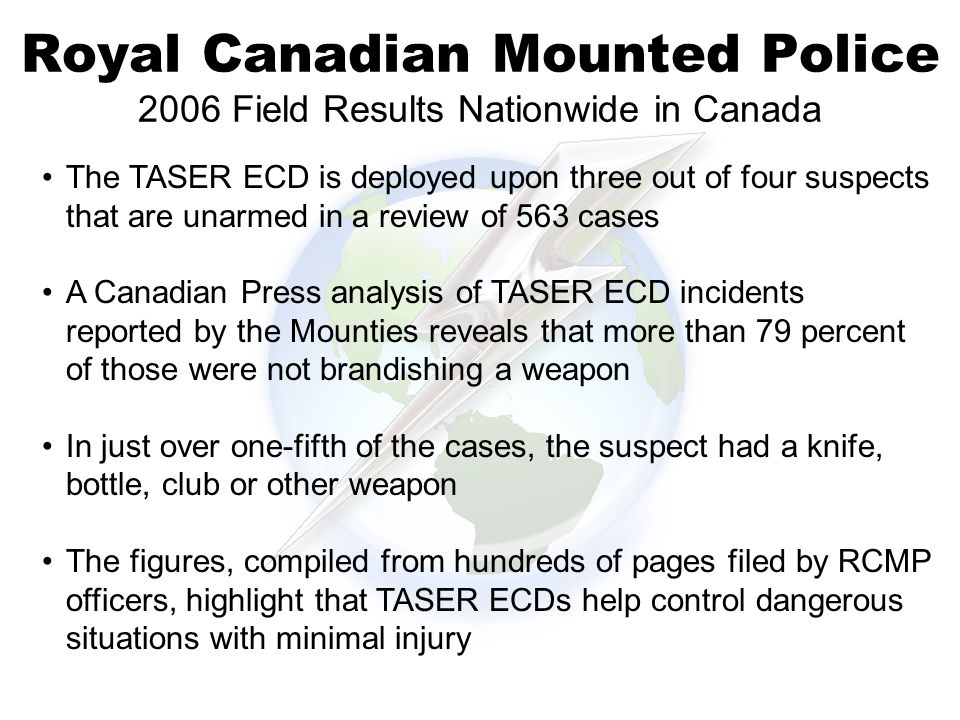 Royal Canadian Mounted Police 2006 Field Results Nationwide in Canada 38% The TASER ECD is deployed upon three out of four suspects that are unarmed in a review of 563 cases A Canadian Press analysis of TASER ECD incidents reported by the Mounties reveals that more than 79 percent of those were not brandishing a weapon In just over one-fifth of the cases, the suspect had a knife, bottle, club or other weapon The figures, compiled from hundreds of pages filed by RCMP officers, highlight that TASER ECDs help control dangerous situations with minimal injury
