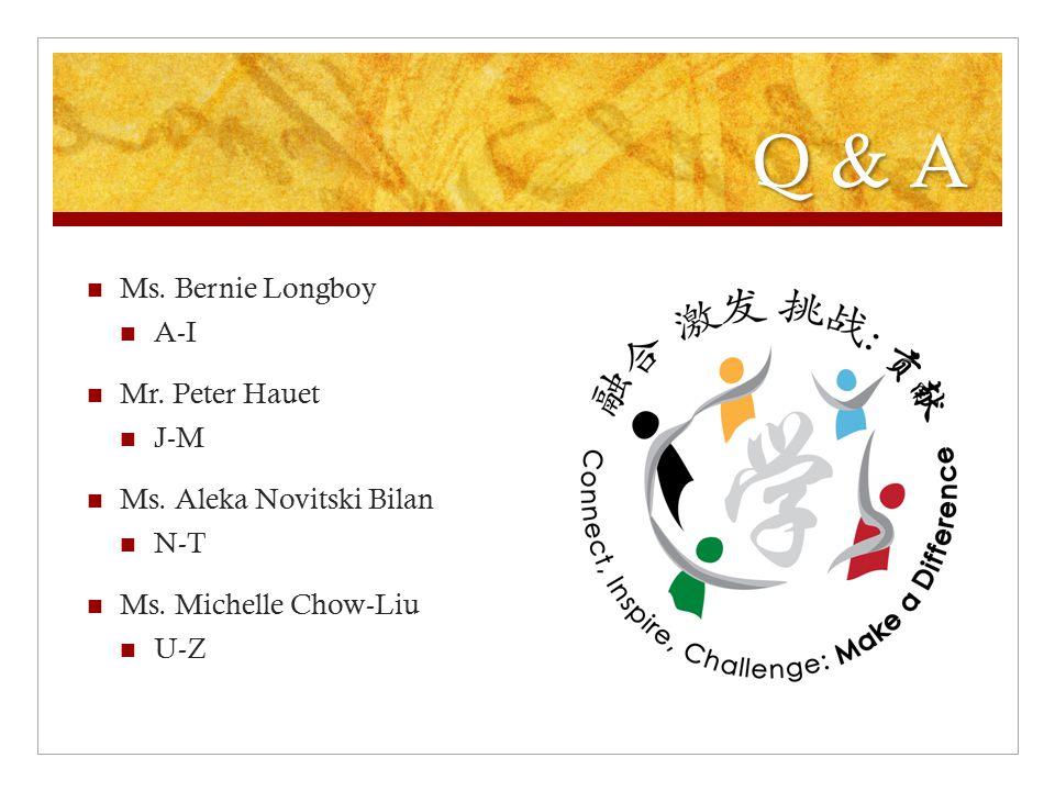 Q & A Ms. Bernie Longboy A-I Mr. Peter Hauet J-M Ms. Aleka Novitski Bilan N-T Ms. Michelle Chow-Liu U-Z