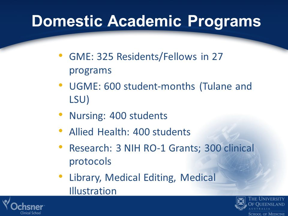 Domestic Academic Programs GME: 325 Residents/Fellows in 27 programs UGME: 600 student-months (Tulane and LSU) Nursing: 400 students Allied Health: 400 students Research: 3 NIH RO-1 Grants; 300 clinical protocols Library, Medical Editing, Medical Illustration