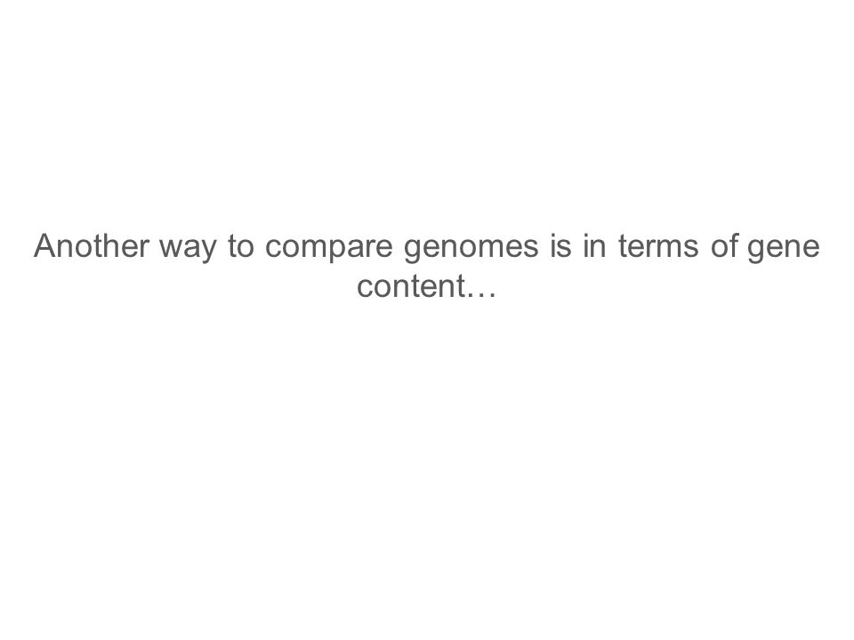 Another way to compare genomes is in terms of gene content…