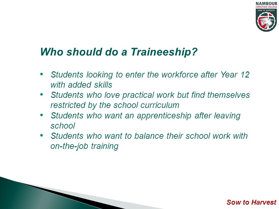 Who should do a Traineeship.