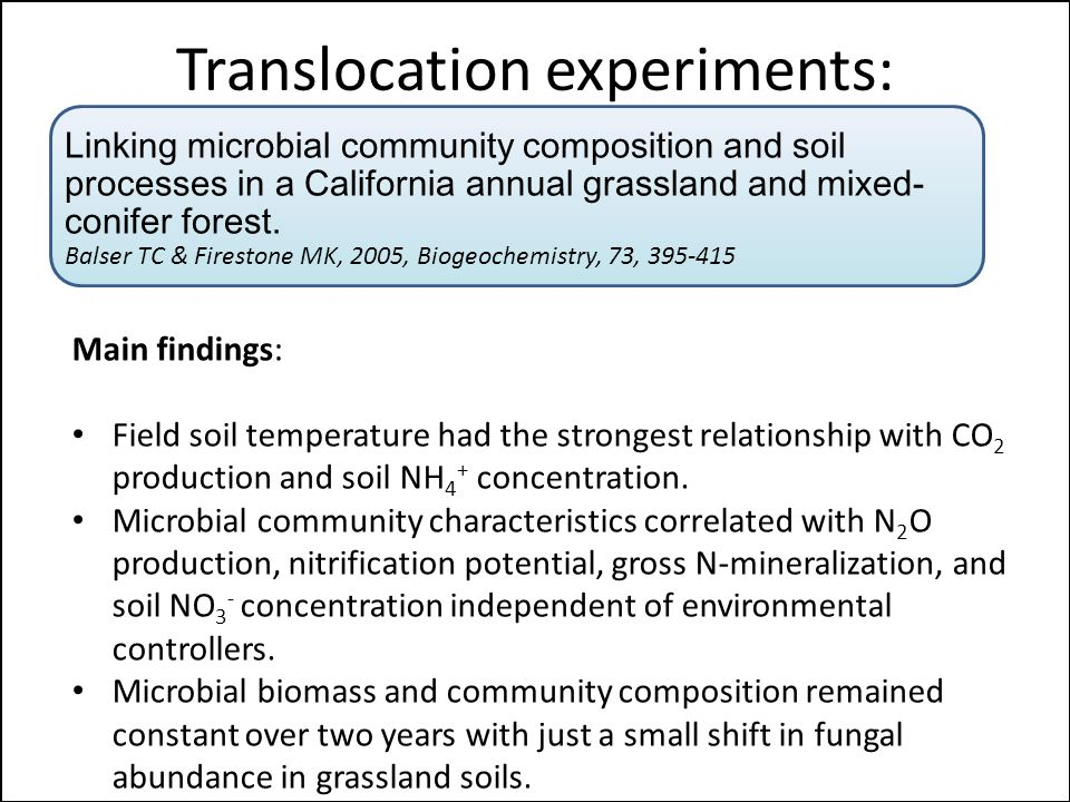 Translocation experiments: Linking microbial community composition and soil processes in a California annual grassland and mixed- conifer forest.