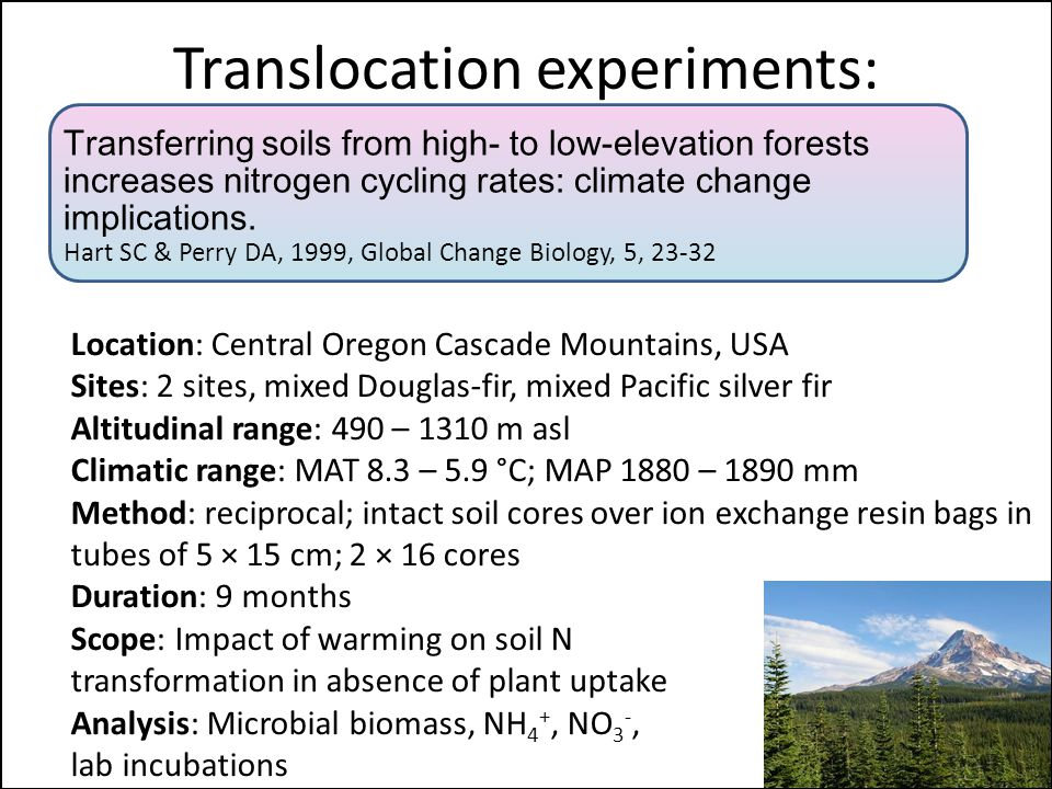 Translocation experiments: Location: Central Oregon Cascade Mountains, USA Sites: 2 sites, mixed Douglas-fir, mixed Pacific silver fir Altitudinal range: 490 – 1310 m asl Climatic range: MAT 8.3 – 5.9 °C; MAP 1880 – 1890 mm Method: reciprocal; intact soil cores over ion exchange resin bags in tubes of 5 × 15 cm; 2 × 16 cores Duration: 9 months Scope: Impact of warming on soil N transformation in absence of plant uptake Analysis: Microbial biomass, NH 4 +, NO 3 -, lab incubations Transferring soils from high- to low-elevation forests increases nitrogen cycling rates: climate change implications.