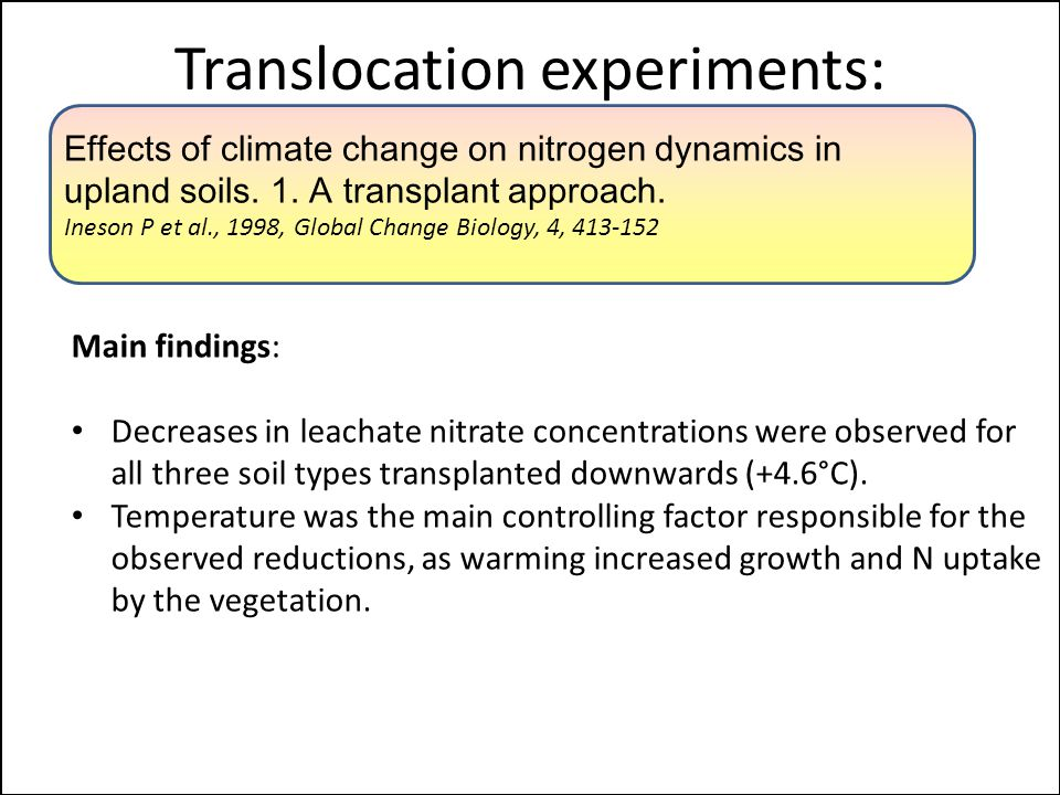 Translocation experiments: Main findings: Decreases in leachate nitrate concentrations were observed for all three soil types transplanted downwards (+4.6°C).