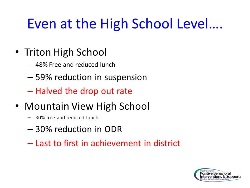 Even at the High School Level….