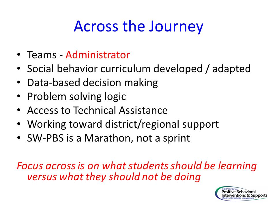 Across the Journey Teams - Administrator Social behavior curriculum developed / adapted Data-based decision making Problem solving logic Access to Tec