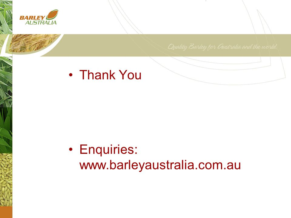 Thank You Enquiries: www.barleyaustralia.com.au