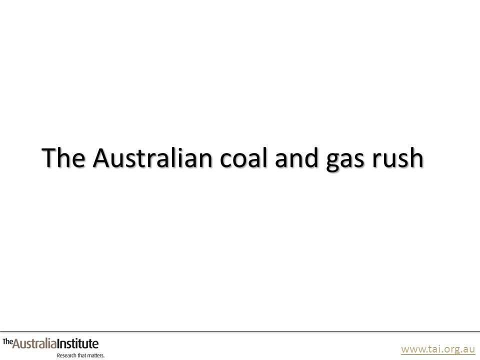 www.tai.org.au The impact of the China First coal mine Waratah Coal's Environmental Impact Statement (EIS) acknowledges: 3,000 jobs will be lost across Queensland and Australia particularly in manufacturing, agriculture and tourism.