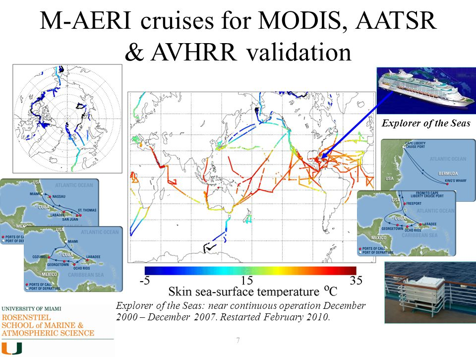 7 M-AERI cruises for MODIS, AATSR & AVHRR validation Explorer of the Seas: near continuous operation December 2000 – December 2007. Restarted February