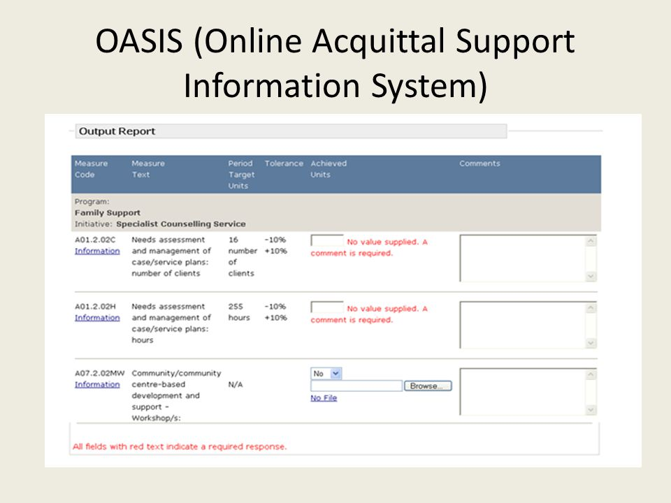OASIS (Online Acquittal Support Information System)