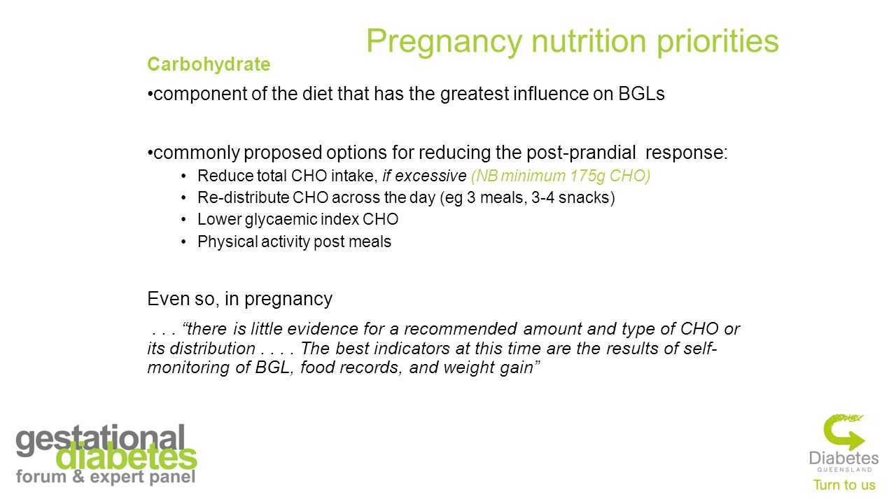 Carbohydrate component of the diet that has the greatest influence on BGLs commonly proposed options for reducing the post-prandial response: Reduce total CHO intake, if excessive (NB minimum 175g CHO) Re-distribute CHO across the day (eg 3 meals, 3-4 snacks) Lower glycaemic index CHO Physical activity post meals Even so, in pregnancy...