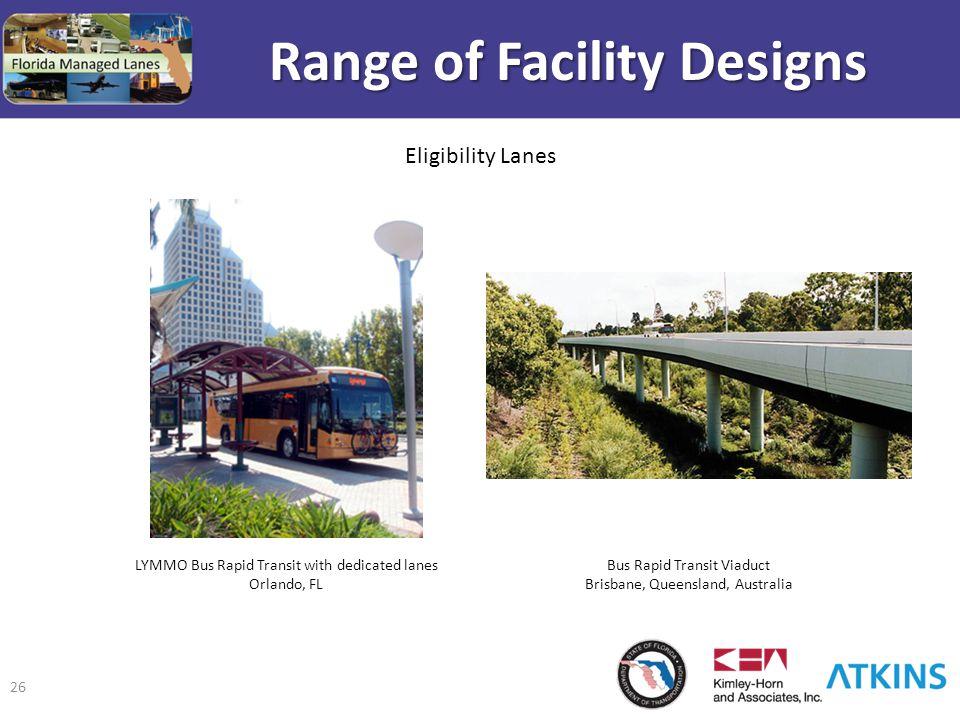 26 Range of Facility Designs Bus Rapid Transit Viaduct Brisbane, Queensland, Australia LYMMO Bus Rapid Transit with dedicated lanes Orlando, FL Eligib