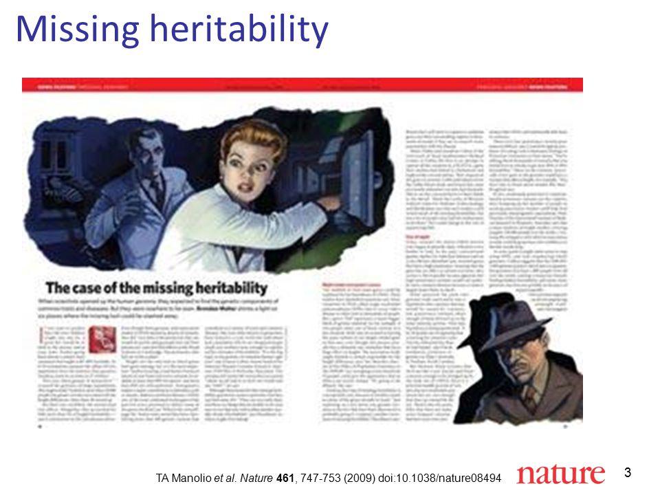 3 Missing heritability TA Manolio et al. Nature 461, 747-753 (2009) doi:10.1038/nature08494