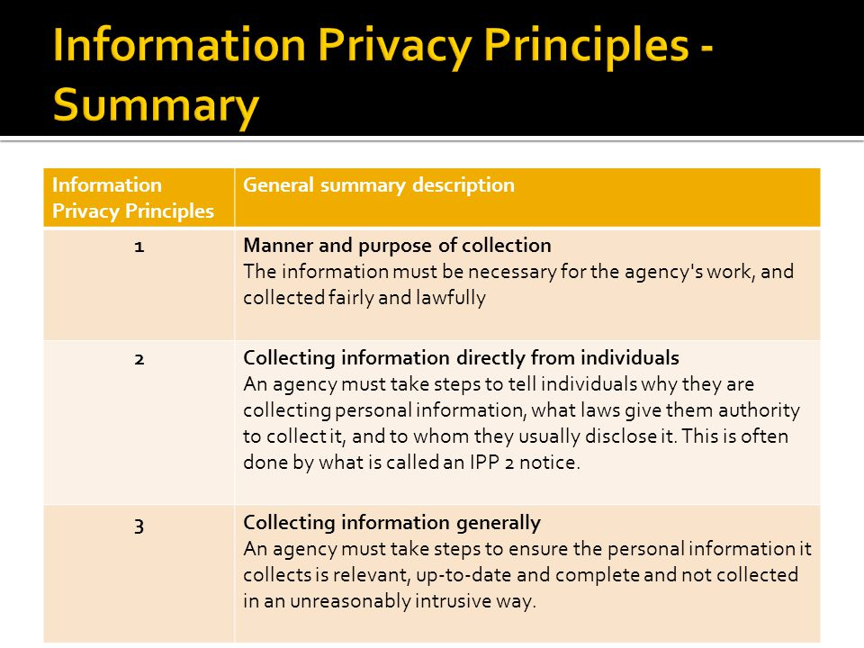 Information Privacy Principles General summary description 1Manner and purpose of collection The information must be necessary for the agency s work, and collected fairly and lawfully 2Collecting information directly from individuals An agency must take steps to tell individuals why they are collecting personal information, what laws give them authority to collect it, and to whom they usually disclose it.