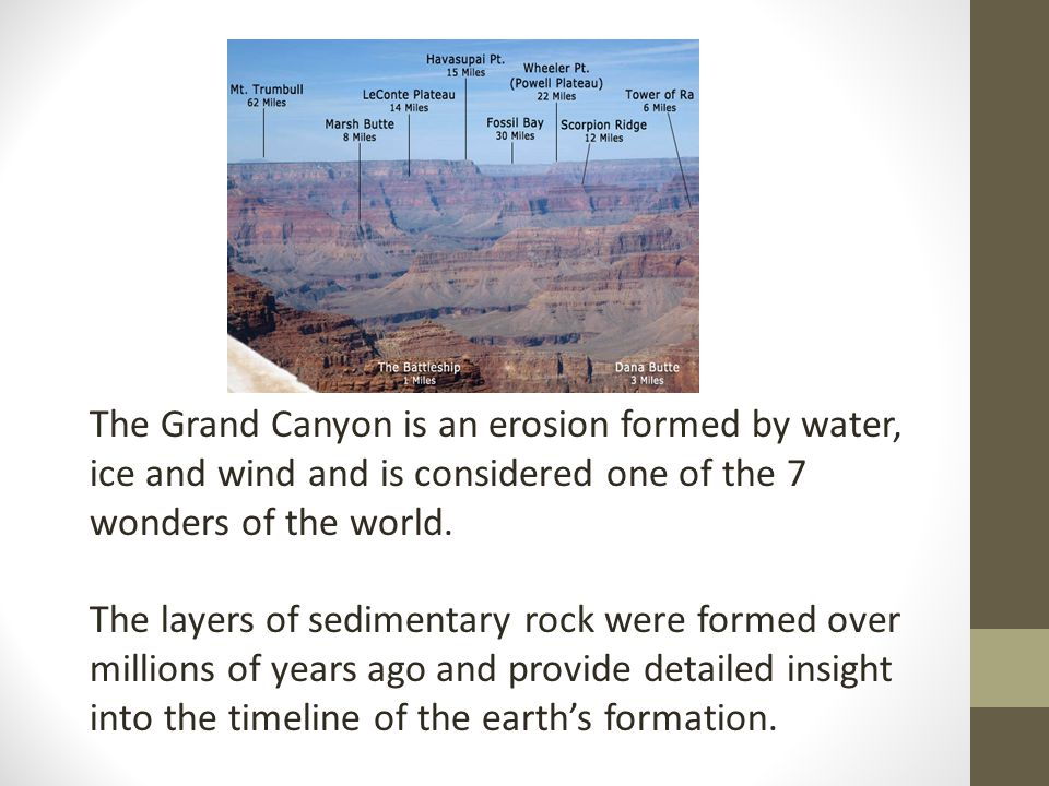 The Grand Canyon is an erosion formed by water, ice and wind and is considered one of the 7 wonders of the world.