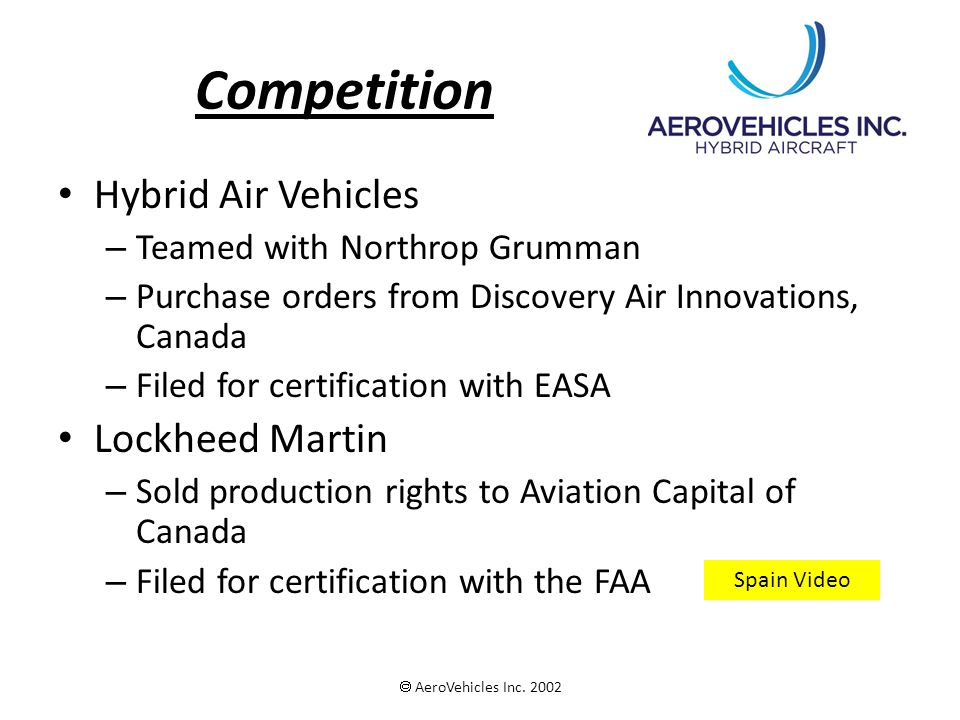 Competition Hybrid Air Vehicles – Teamed with Northrop Grumman – Purchase orders from Discovery Air Innovations, Canada – Filed for certification with EASA Lockheed Martin – Sold production rights to Aviation Capital of Canada – Filed for certification with the FAA  AeroVehicles Inc.