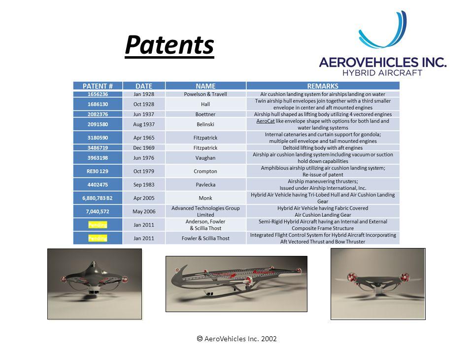 Patents  AeroVehicles Inc. 2002