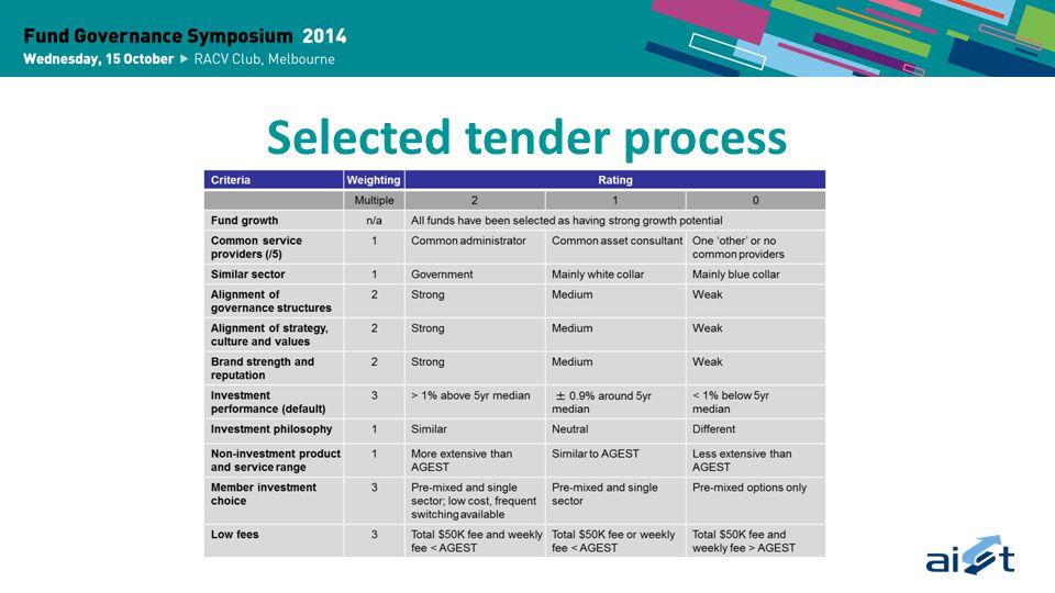 Selected tender process