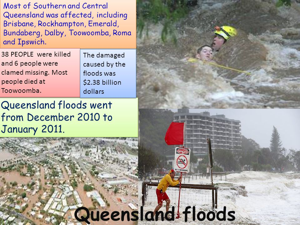 Queensland floods went from December 2010 to January 2011. Most of Southern and Central Queensland was affected, including Brisbane, Rockhampton, Emer