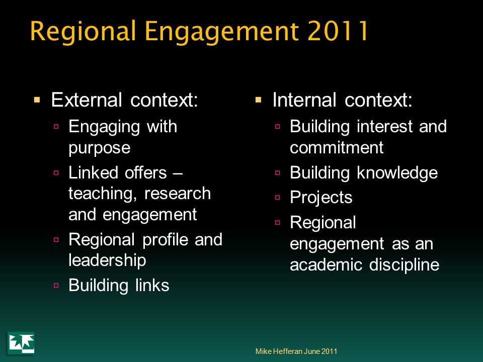Regional Engagement 2011  External context:  Engaging with purpose  Linked offers – teaching, research and engagement  Regional profile and leadership  Building links  Internal context:  Building interest and commitment  Building knowledge  Projects  Regional engagement as an academic discipline Mike Hefferan June 2011