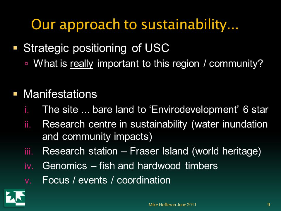 Our approach to sustainability...