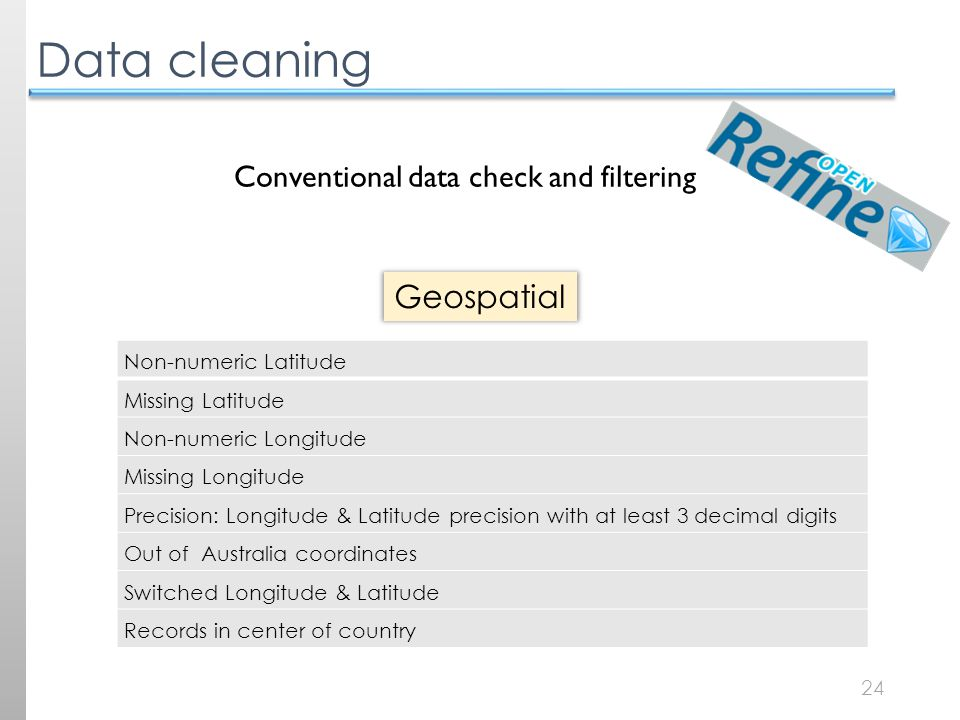 24 Data cleaning Non-numeric Latitude Missing Latitude Non-numeric Longitude Missing Longitude Precision: Longitude & Latitude precision with at least 3 decimal digits Out of Australia coordinates Switched Longitude & Latitude Records in center of country Geospatial Conventional data check and filtering