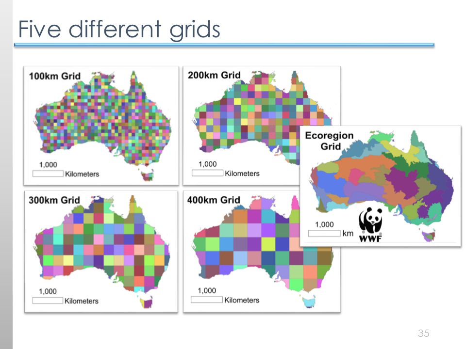 35 Five different grids