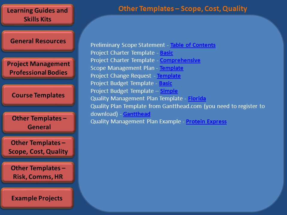 Preliminary Scope Statement - Table of ContentsTable of Contents Project Charter Template - BasicBasic Project Charter Template - ComprehensiveComprehensive Scope Management Plan - TemplateTemplate Project Change Request - TemplateTemplate Project Budget Template - BasicBasic Project Budget Template – SimpleSimple Quality Management Plan Template - FloridaFlorida Quality Plan Template from Gantthead.com (you need to register to download) - GanttheadGantthead Quality Management Plan Example - Protein ExpressProtein Express Other Templates – Scope, Cost, Quality