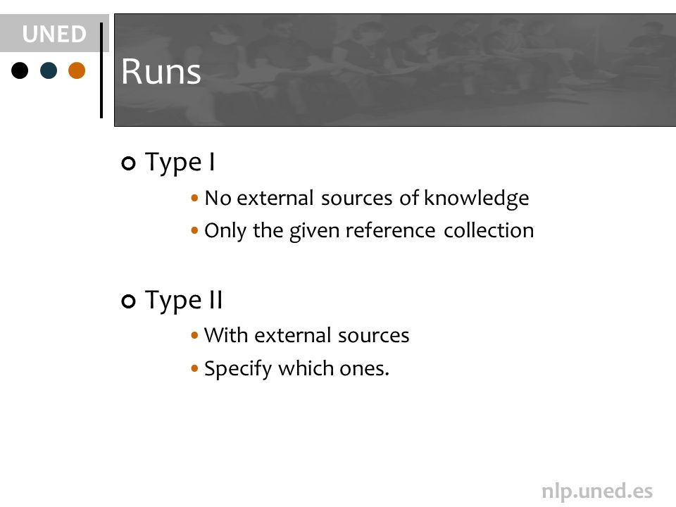 UNED nlp.uned.es Runs Type I No external sources of knowledge Only the given reference collection Type II With external sources Specify which ones.