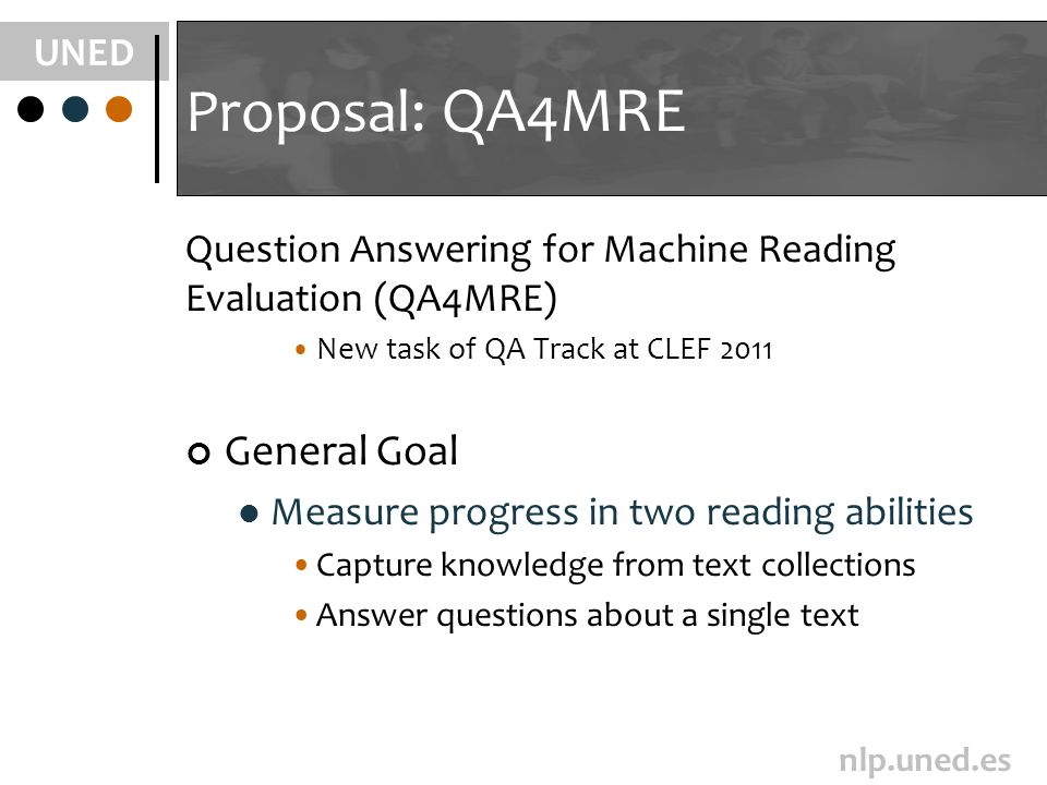 UNED nlp.uned.es Proposal: QA4MRE Question Answering for Machine Reading Evaluation (QA4MRE) New task of QA Track at CLEF 2011 General Goal Measure pr