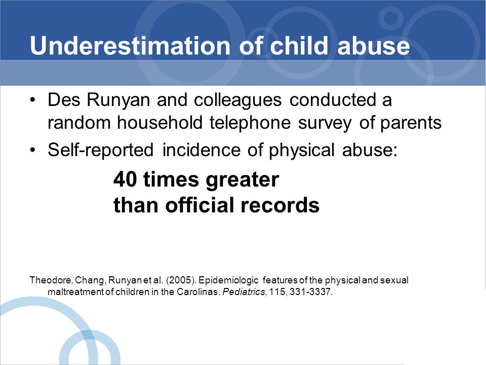 Underestimation of child abuse Des Runyan and colleagues conducted a random household telephone survey of parents Self-reported incidence of physical