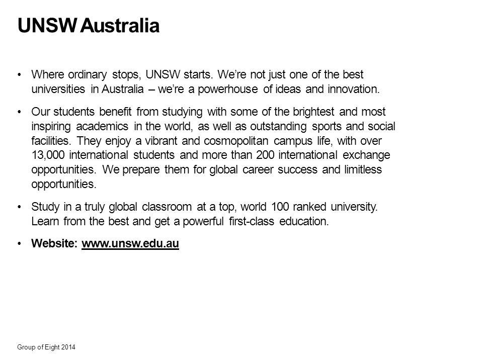 UNSW Australia Where ordinary stops, UNSW starts.