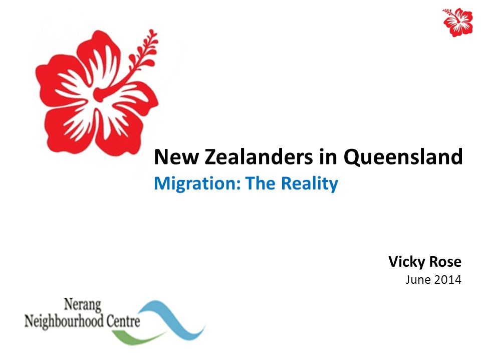 New Zealanders in Queensland Migration: The Reality Vicky Rose June 2014