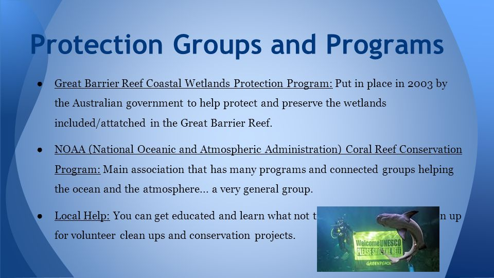 ● Great Barrier Reef Coastal Wetlands Protection Program: Put in place in 2003 by the Australian government to help protect and preserve the wetlands included/attatched in the Great Barrier Reef.