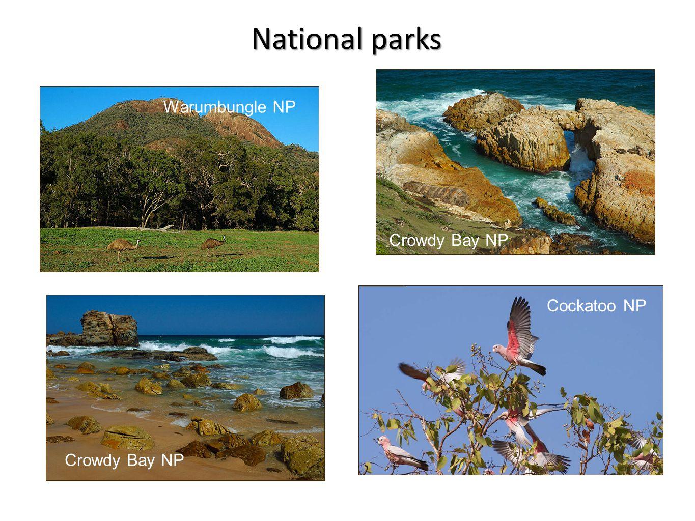Warumbungle NP Crowdy Bay NP Cockatoo NP National parks