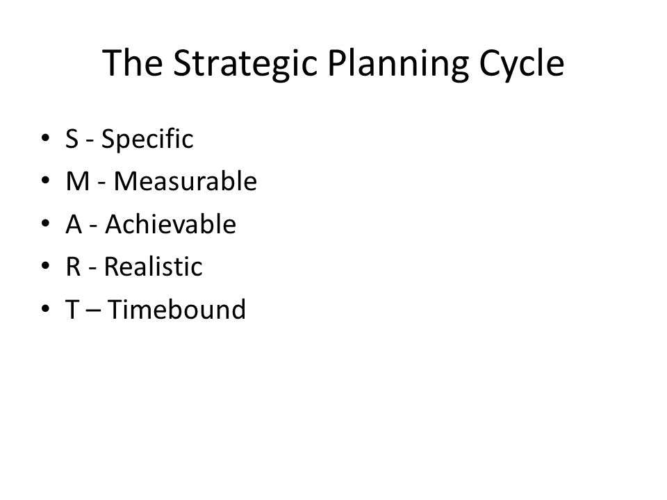 The Strategic Planning Cycle S - Specific M - Measurable A - Achievable R - Realistic T – Timebound