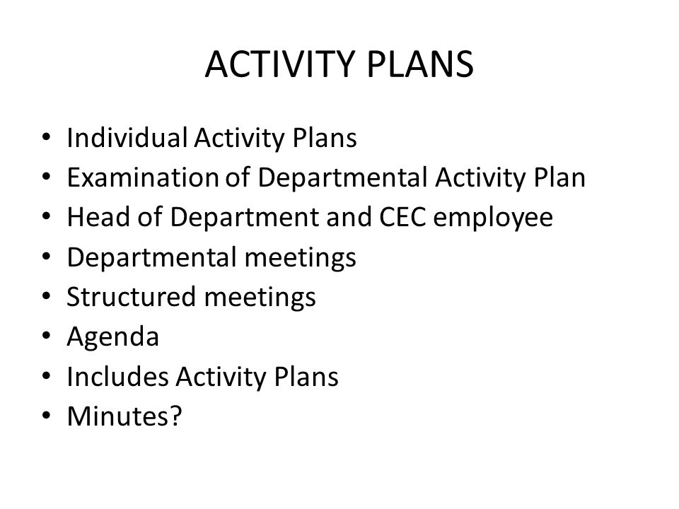 ACTIVITY PLANS Individual Activity Plans Examination of Departmental Activity Plan Head of Department and CEC employee Departmental meetings Structured meetings Agenda Includes Activity Plans Minutes?