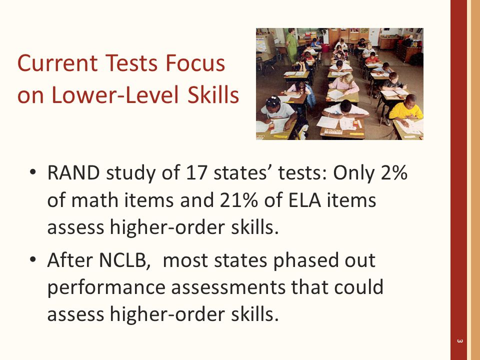 Current Tests Focus on Lower-Level Skills RAND study of 17 states' tests: Only 2% of math items and 21% of ELA items assess higher-order skills.